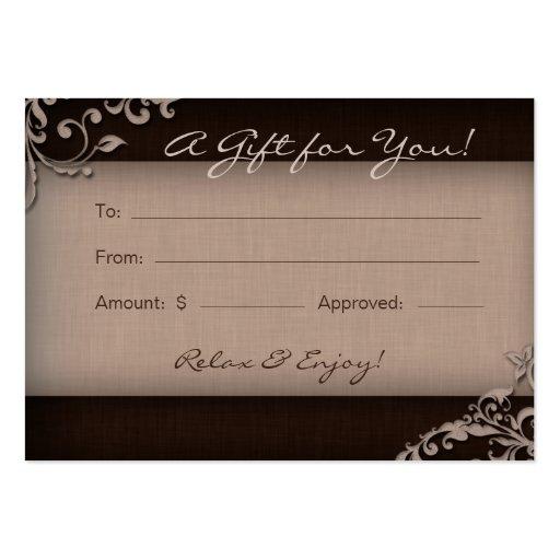 Salon Gift Card Spa Linen Floral Brown Beige Business Card Template