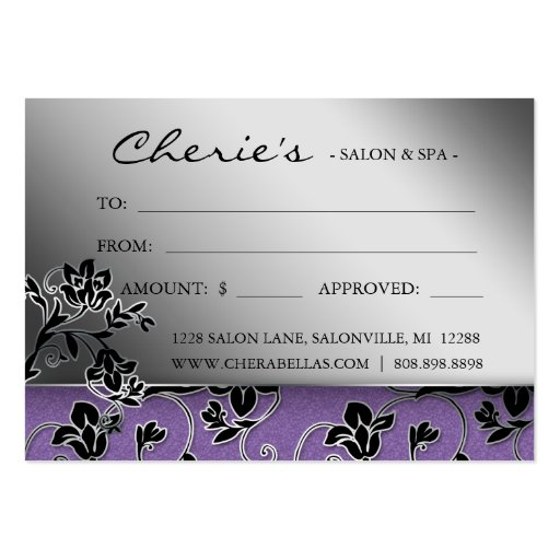Salon Gift Card Spa Purple Floral Business Card Template