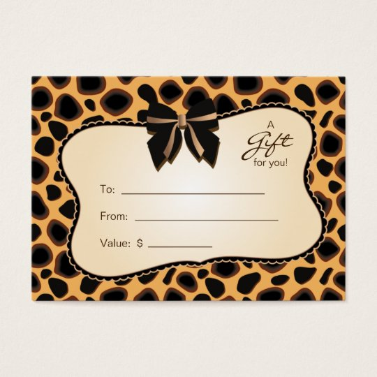 Salon Gift Card Spa Valentine's Day Cheetah Animal