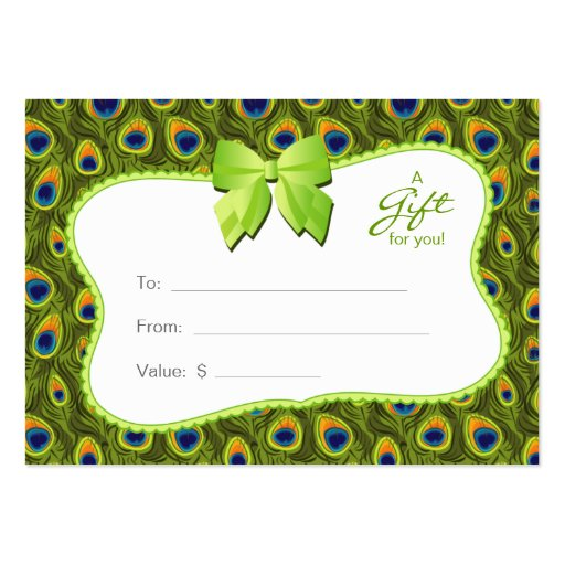 Salon Gift Card Spa Valentine's Day Peacock Animal Business Cards