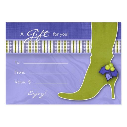 Salon Gift Card Spa Xmas Holly Green Purple Boot Business Card