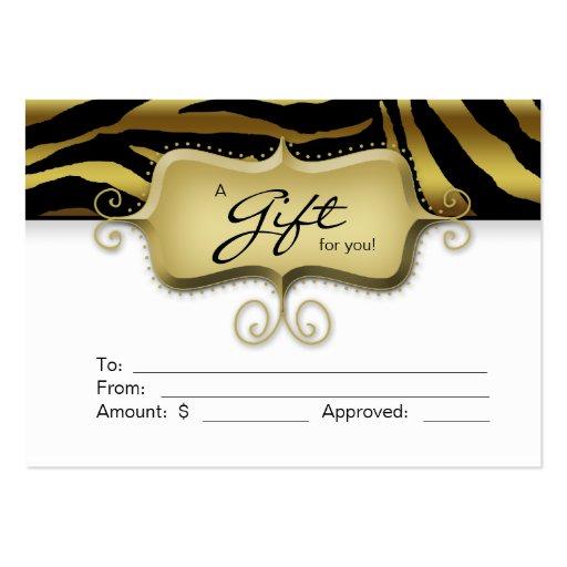 Salon Gift Card Spa Zebra Animal Gold Black Business Card Template