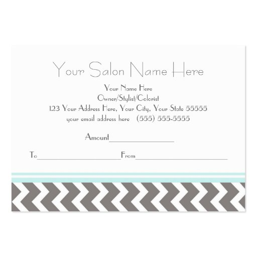 Salon Gift Certificate Aqua Grey Chevron Business Card (back side)