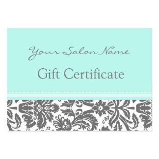 Salon Gift Certificate Aqua Grey Damask Business Card Template