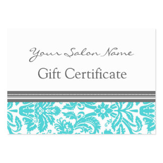 Salon Gift Certificate Aqua Grey Damask Large Business Card