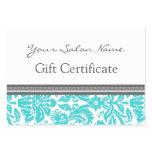Salon Gift Certificate Aqua Grey Damask Large Business Cards (Pack Of 100)