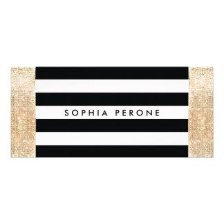 Salon Gift Certificate Black Stripes Gold Sequin
