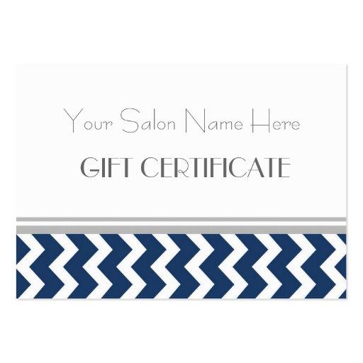 Salon Gift Certificate Blue Grey Chevron Business Card Templates