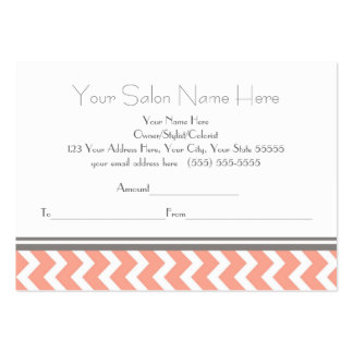 Salon Gift Certificate Coral Grey Chevron Large Business Cards (Pack Of 100)