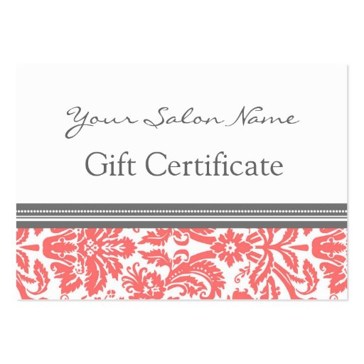 Salon Gift Certificate Coral Grey Damask Business