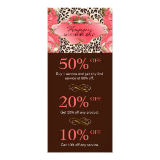 Salon GIFT CERTIFICATE Crown Leopard Coral Brown Rack Cards