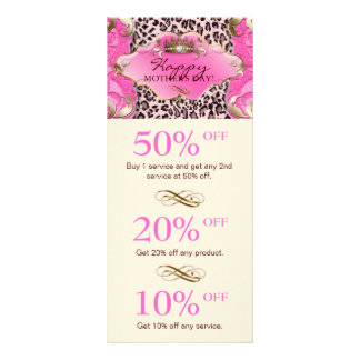 Salon GIFT CERTIFICATE Crown Leopard Pink Cream Rack Card Template