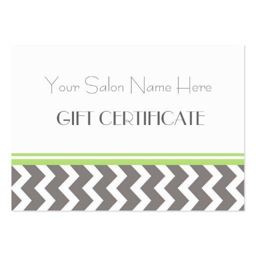 Salon Gift Certificate Lime Grey Chevron Business Card
