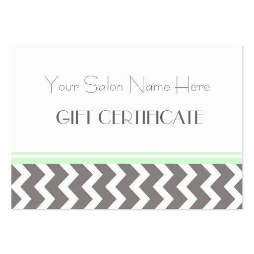 Salon Gift Certificate Mint Grey Chevron Business Card