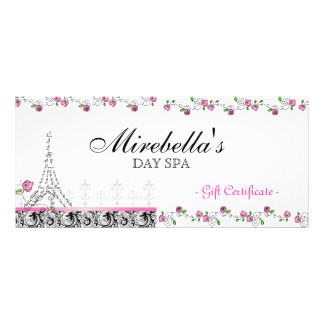 Salon Gift Certificate Paris Eiffel Tower Roses Custom Rack Cards