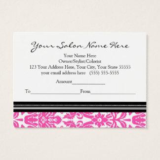 Salon Gift Certificate Pink Black Damask