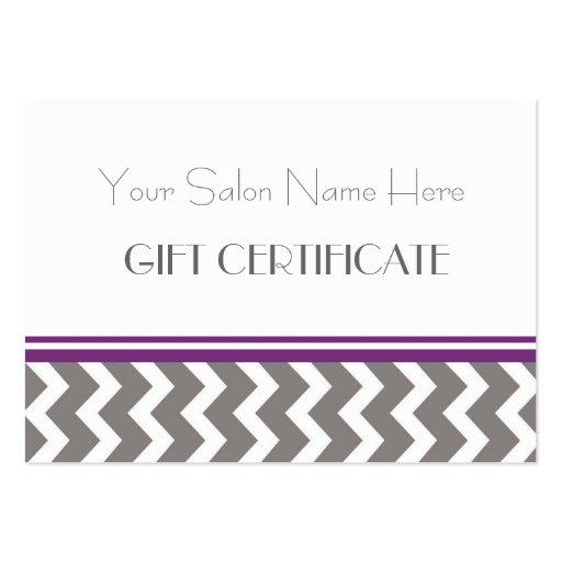 Salon Gift Certificate Purple Grey Chevron Business Card Templates