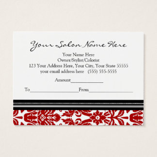 Salon Gift Certificate Red Black Damask