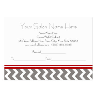 Salon Gift Certificate Red Grey Chevron Large Business Cards (Pack Of 100)