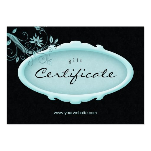 Salon Gift Certificate Spa Floral Blue Black Business Cards