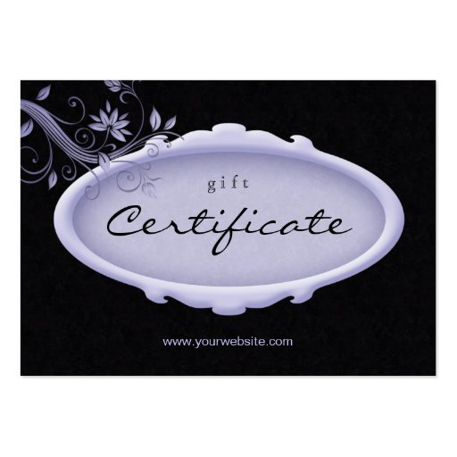 Salon Gift Certificate Spa Floral Purple Black Business Card Template