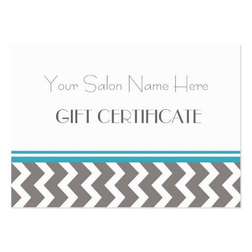Salon Gift Certificate Teal Grey Chevron Business Card Template