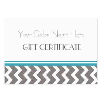 Salon Gift Certificate Teal Grey Chevron Business Card Template