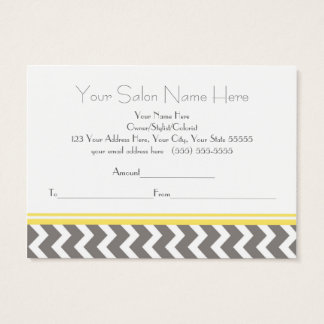 Salon Gift Certificate Yellow Grey Chevron