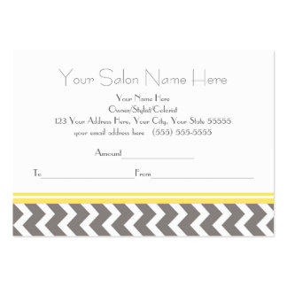 Salon Gift Certificate Yellow Grey Chevron Large Business Cards (Pack Of 100)