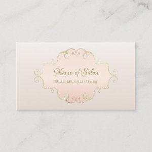 Salon Glitter Chic Light Rose Pink Filligree Frame Business Card