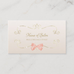 Salon Glitter Glam Frame and Chic Pink Bow Business Card