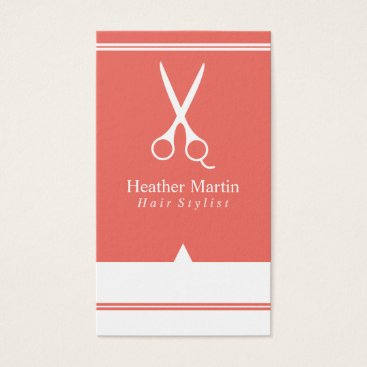 Professional Business Salon Hair Stylist Appointment Cards in Coral