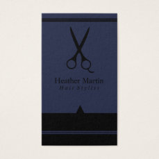 Salon Hair Stylist Appointment Cards in Navy Blue