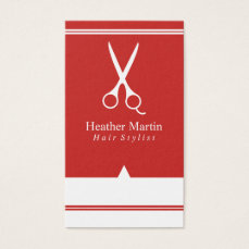 Salon Hair Stylist Appointment Cards in Red