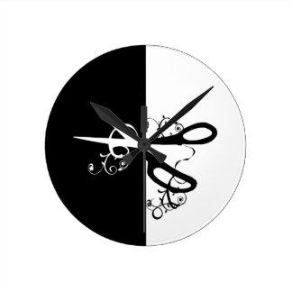 Salon Hairstylist Craft Studio Scissors Round Clock