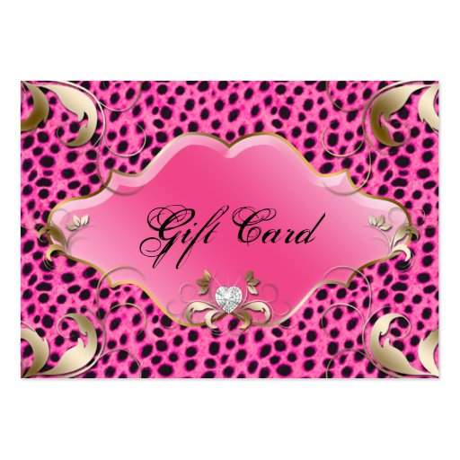 Salon Jewelry Gift Certificate Leopard Pink Floral Business Card