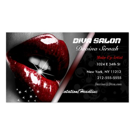Shiny Sparkling Full Red Lips Cosmetologist Business Cards