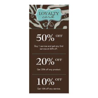 Salon Marketing Cards Blue Brown Zebra