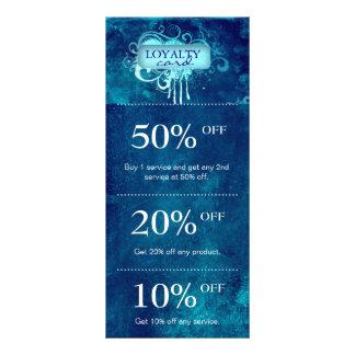 Salon Marketing Cards Blue Grunge Floral