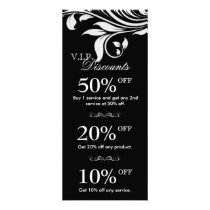 Salon Marketing Cards Elegant Floral Black White 2