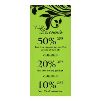 Salon Marketing Cards Elegant Floral Lime Black