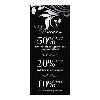Salon Marketing Cards Elegant Floral Silver Black