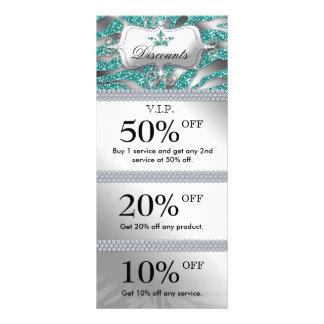 Salon Marketing Cards Jewelry Crown Sparkle Teal