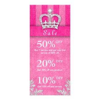 Salon Marketing Cards Jewelry Crown Stripes Pink