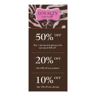 Salon Marketing Cards Pink Brown Zebra