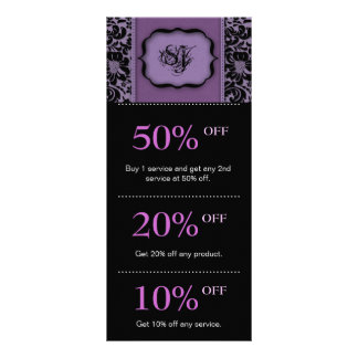 Salon Marketing Cards Purple Floral Damask