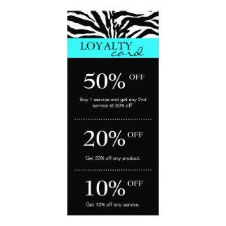 Salon Marketing Cards Zebra Blue Black