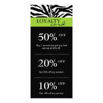 Salon Marketing Cards Zebra Lime Green Black