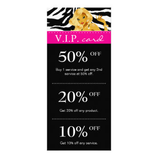 Salon Marketing Cards Zebra Pink Blonde Tanning