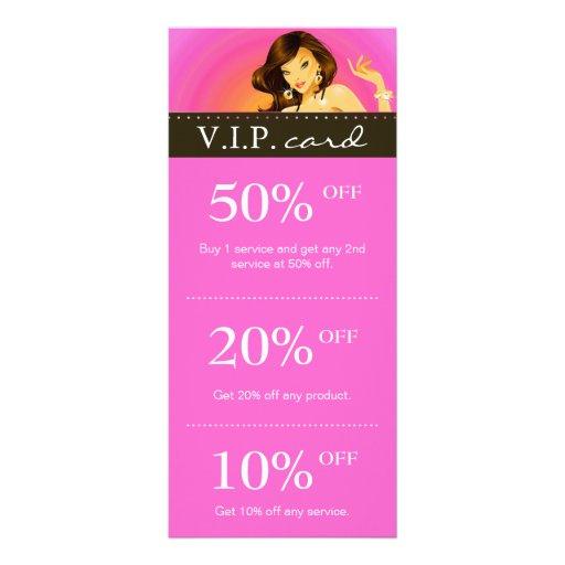 Salon marketing cards zebra pink tanning brunette rack for Salon marketing